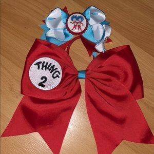 Girls Hair bow and matching clippie with Thing 1&2